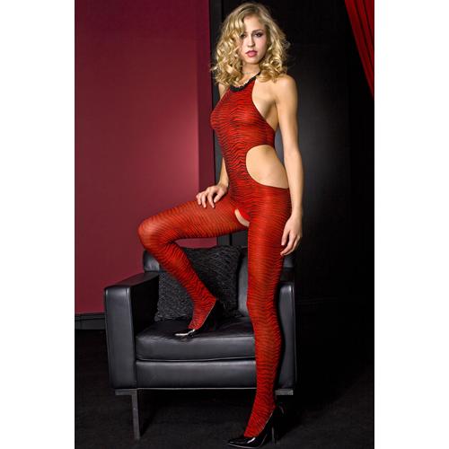 Music Legs catsuit zebra print – Rood/Zwart – Music Legs