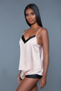 Natalie Satin Hemd & Short – Roze/Zwart – Be Wicked
