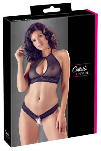 Sexy 2-Delige Transparante Set Met Open Kruisje – Cottelli Collection