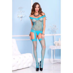 Off-Shoulder Jarretelset Catsuit – Turquoise – Music Legs