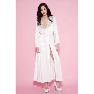 Lange Satijnen Kimono – Wit – Music Legs