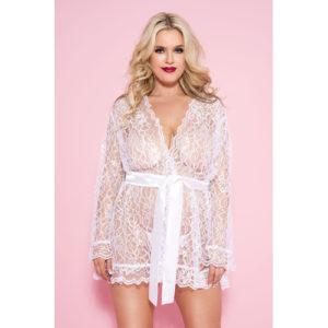 Plus Size Kanten Kimono – Wit – Music Legs