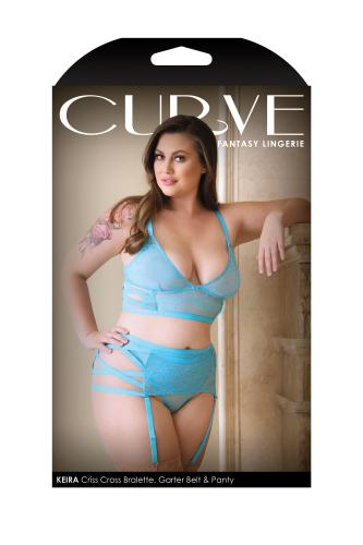 Keira Criss Cross 3-Delige Jarretelset – Electric Blue – Curve