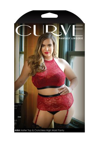 Aria Jarretelset Met Open Kruisje – Rood – Curve