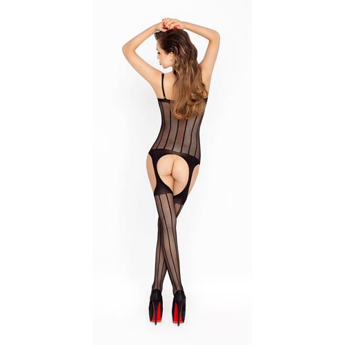 Zwarte netstof catsuit met open decolleté – Passion