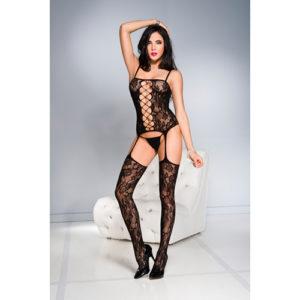 Jarretel Catsuit Met Bloemendesign – Zwart – Music Legs