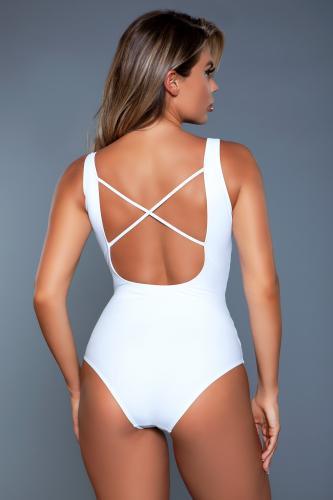 Evie Badpak Met Rijgveter – Wit – Be Wicked Swimwear