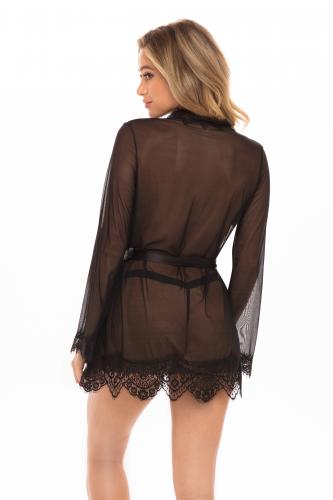 Transparante Kimono Met String – Zwart – OhLaLa Cheri