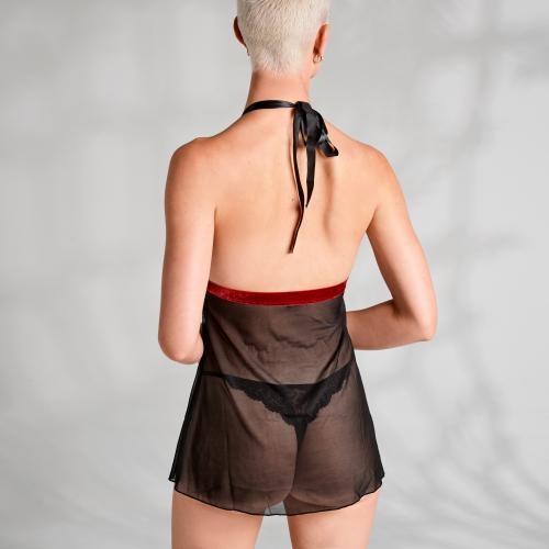 Rossita Babydoll Met Sexy String – Zwart – Obsessive